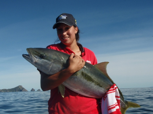 The Mrs with her first Kingi - Stoked