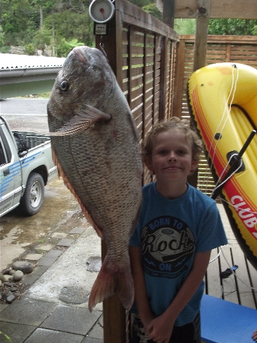 my son zach 9yrs caught this 11.1kg snapper