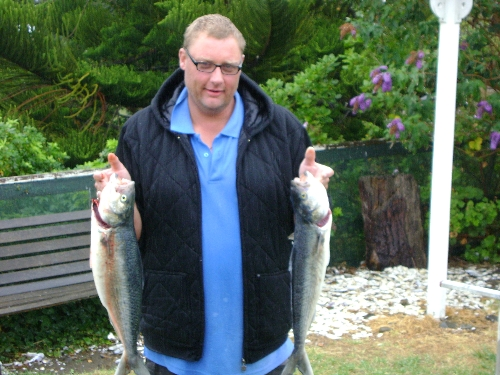 The Kahwai on the left Weighed 2.8 kg was a fatty!