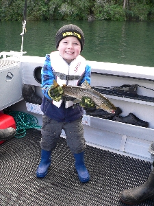 5 year old Brandon Swift's first trout - very proud day