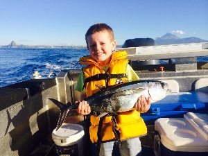 Jai Meyer 3years old with his first albacore