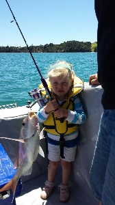 Miss 3 Riley, with her new fishing rod