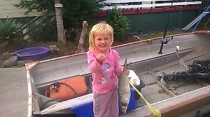 my 1st mullet in dad's boat.get the smoker going