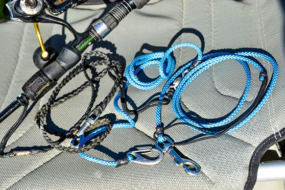 Keep those precious rod and reel sets attached to the kayak with leashes.