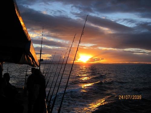 sun set going fishing