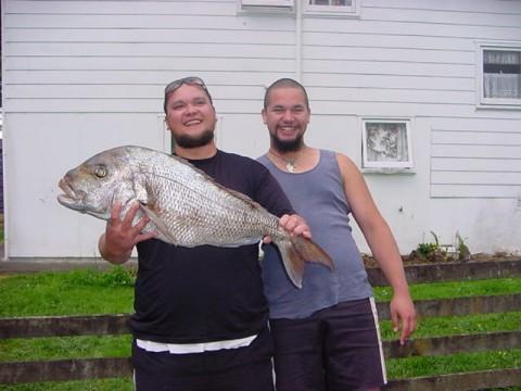 Robert Erceg and Bono Johnstone, fish speared at Ngahau.