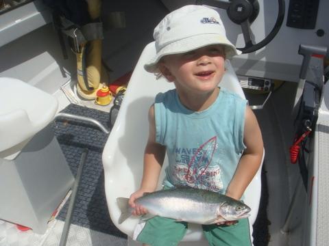 Toby Koropehi Hurihanganui and his first fish at 3years old