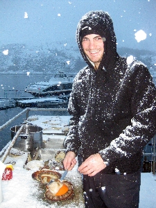 Giant Norwegian scallops plucked from the icy fiords