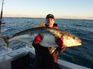 46kg Kingfish caught on a jig -released