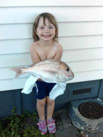 4yr Rena's first snapper 39cm tough going back she got there.